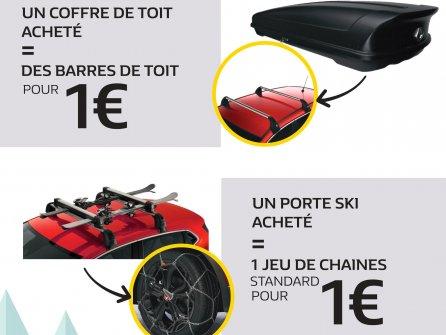 Promotion Renault sur les barres de toit et sur un jeu de chaines