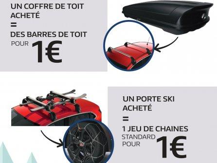 Promotion Dacia sur les barres de toit et sur un jeu de chaines