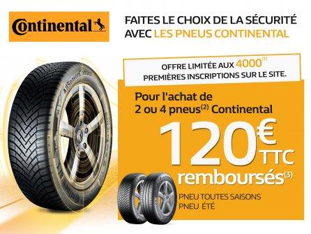 120 euros remboursés pour l'achat de 2 ou 4 pneus Continental