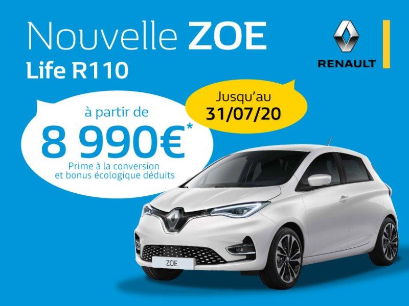 Nouvelle Renault ZOE Life R110 à partir de 8 990€