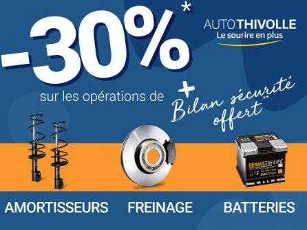 -30% sur Freinage, Amortisseurs et Batteries