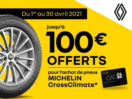 Jusqu'à 100€ OFFERTS pour l'achat de pneus MICHELIN CrossClimate